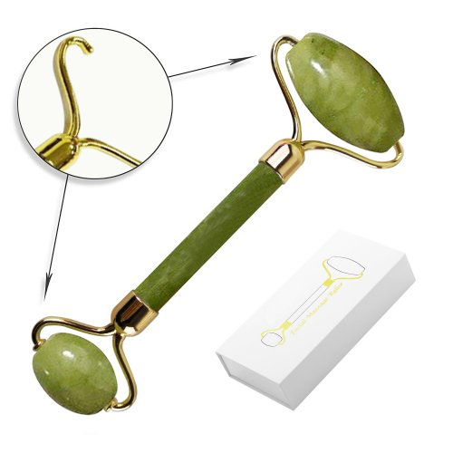 Zinc Alloy Molded Frame Facial Roller Massager Anti Aging Real Jade Stone Roller with Silicone Silencer